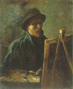Self Portrait with Dark Felt Hat at the Easel, Vincent van Gogh, 1886, Public Domain