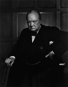 Digitally restored vector portrait of Sir Winston Churchill.