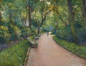 """""""Parc Monceau,"""" Gustave Caillebotte, 1877, Public Domain"""
