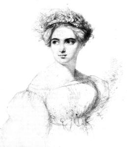Fanny Mendelssohn, sketch by her fiance, Public Domain