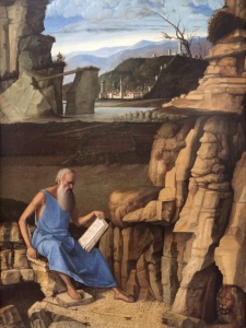 Giovanni Bellini, Saint Jerome Reading in a Landscape, circa 1480-5, my photo taken in National Gallery, London