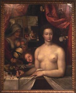 Lady in Bath, Diane de Poitiers, Francois Clouet, c. 1555, Public Domain