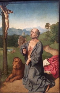 Workshop of David Gerard, Saint Jerome in a Landscape, about 1501, my photo taken in National Gallery, London