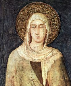St. Clare, detail of fresco by Simone Martini, circa 1322-1326, Public Domain